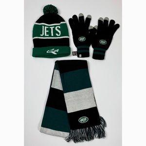 N.Y. Jets Football Hoodie Scarf Gloves Set